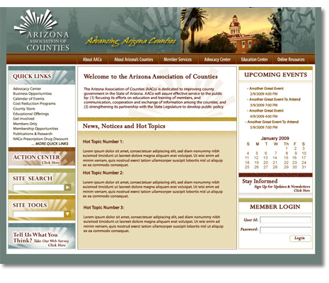 Arizona Association of Counties, Website Design