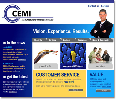 CEMI Manufacturers' Reps Website Design