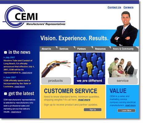 CEMI Manufacturers' Reps Website Design