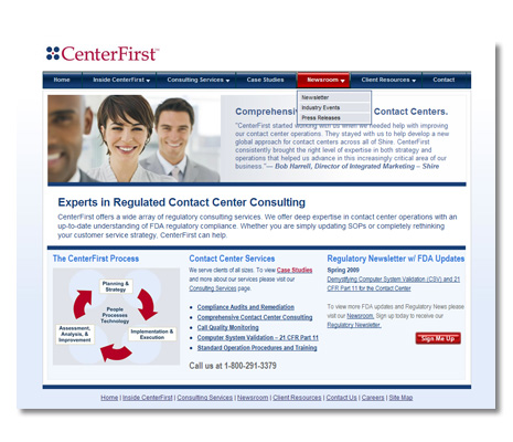 CenterFirst Contact Center Consultant Website Design