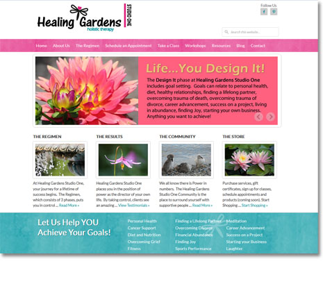 WordPress Website Design - Healing Gardens Studio One