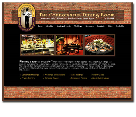 The Connoisseur Dining Room Website Design