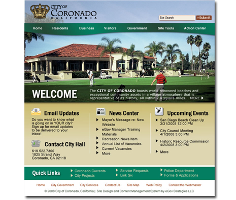 City of Coronado Website Design