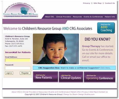 Childrens Resource Group Website Design