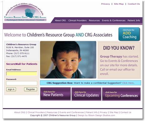 Childrens Resource Group Website Design