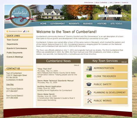 Town of Cumberland, IN, Website Design