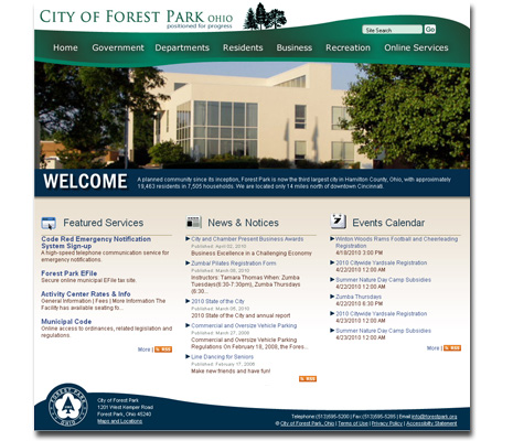 City of Forest Park OH website design