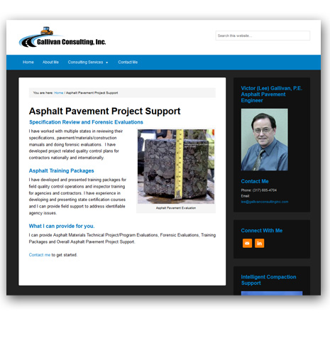 WordPress Website Design - Gallivan Asphalt and Pavment Consulting