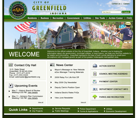 City of Greenfield, Indiana Website Design