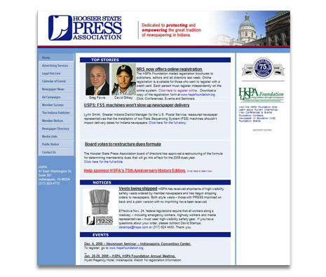 Hoosier State Press Association Website Design
