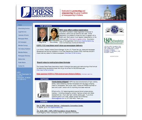 Hoosier State Press Association Website Design