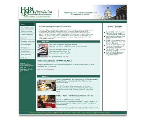 Hoosier State Press Association Foundation Website Design
