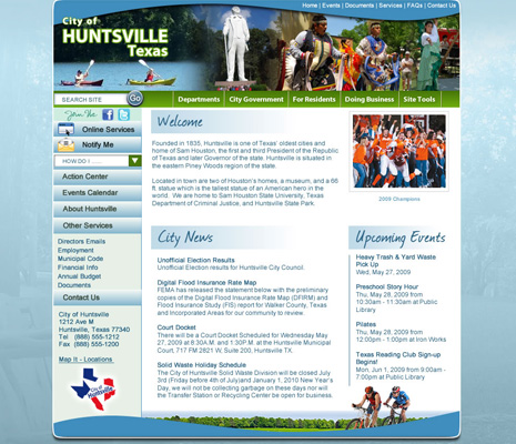 City of Huntsville, Texas, Website Design
