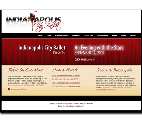Indianapolis City Ballet Web Site Design