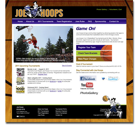 Joe Hoops Website Design