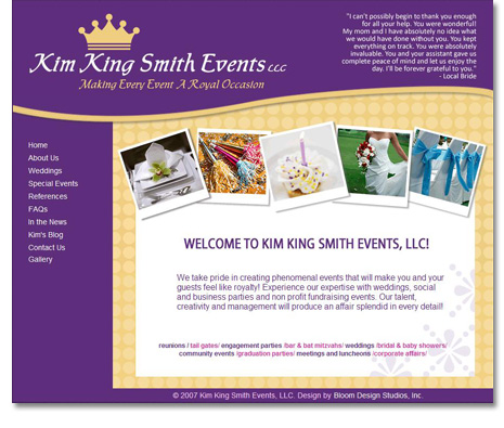 Kim King Smith Events Website Design
