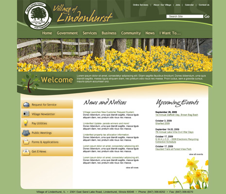 Village of Lindenhurst Illinois, Web Site Design