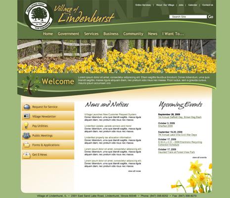 Village of Lindenhurst Illinois, Web Site Design