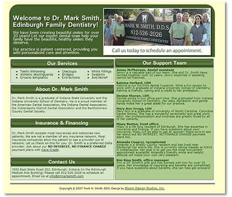 Dr. Mark Smith, DDS Website Desig