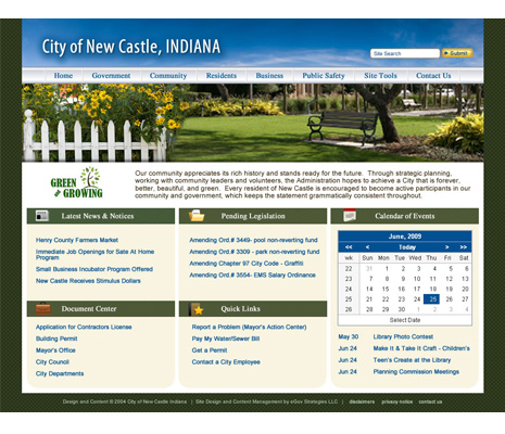 City of New Castle Web Site Design