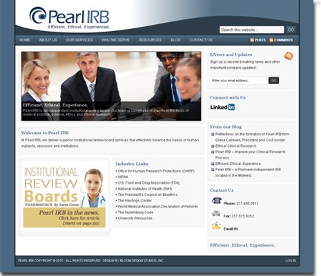Pearl IRB WordPress Website Design and Development