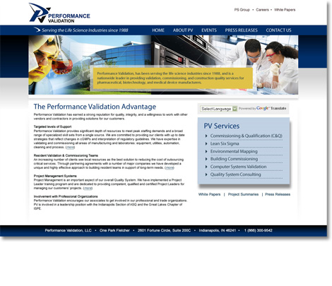 Performance Validation Website Design