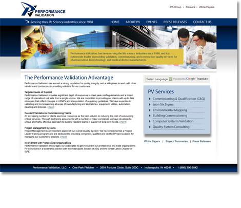 Performance Validation Website Design