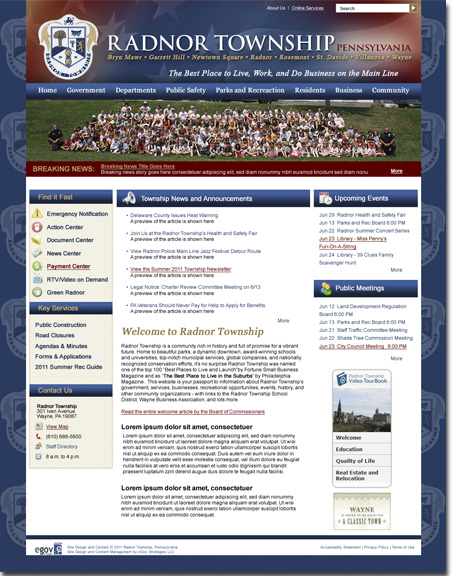 Radnor Township, PA, Website Design