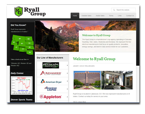 Wordpress Website Design - Ryall Group Manufacturer Rep