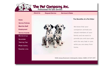The Pet Company Website Design