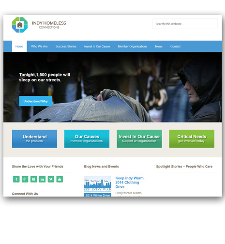 WordPress Website Design - Indy Homeless Connections