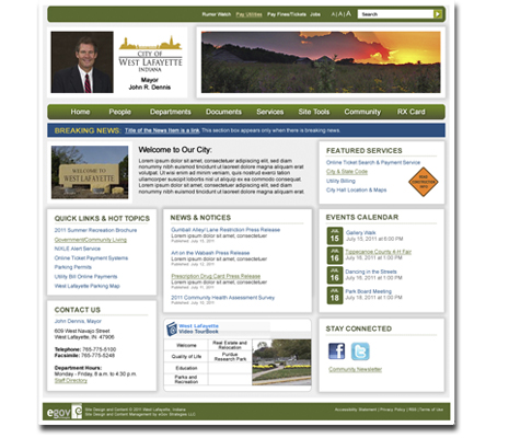 City of West Lafayette Website Design