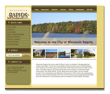 City of Wisconsin Rapids, WI Website Design