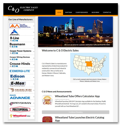 Wordpress Website Design - C & O Electric Sales